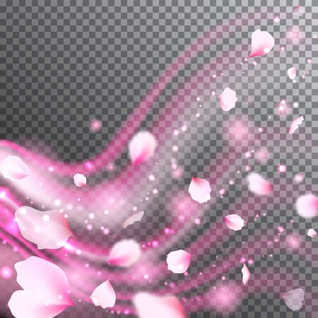 Transparent pink pastel background with rose petals and light particles. Romantic flowers petals swirl and waves. Vector illustration for your graphic design.