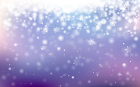 Winter bokeh background with little snowflakes. Horizontal bokeh background with particles in cold tints. Vector illustration for your graphic design. Foto de archivo - 130022160