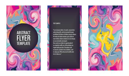 Flyer template set with marble texture backgrounds in bright colors. Colorful flyers with marble swirls. 80s style flyers. Vector illustration for your graphic design. Foto de archivo - 130022164