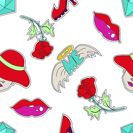 Girl power themed seamless pattern. 80s style. Funny and colorful girly pattern. Vector illustration for your graphic design.