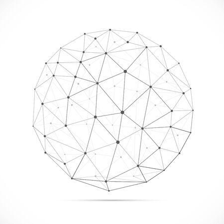 Sfera poligonale bianca dimensionale di vettore con ombra isolata su priorità bassa bianca. Illustrazione vettoriale per il tuo design grafico. Vettoriali