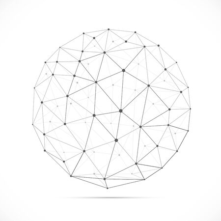 Vector dimensional white polygonal sphere with shadow isolated on white background. Vector illustration for your graphic design. Vector Illustration