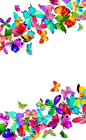 Border with various colorful vector butterflies isolated on white background.