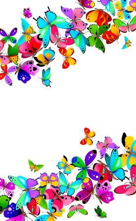Frontera con varias mariposas coloridas del vector aisladas en el fondo blanco.