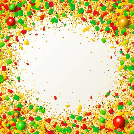 Kolorowa ramka z brokatem, konfetti i koralikami w tradycyjnych świątecznych kolorach. Czerwone, zielone i złote cząsteczki na jasnym tle. Ilustracja wektorowa do projektowania graficznego.