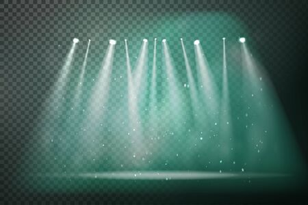 Vector stage with set of smoky green spotlights. Green stage lights. Vector illustration for your graphic design Иллюстрация