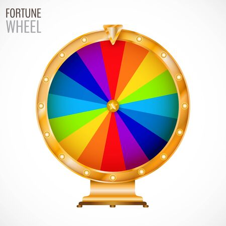 Colorful and bright vector wheel of fortune with figures isolated on white background. Vector illustration for your graphic design. Vector Illustration
