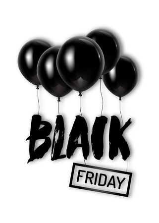 Black Friday poster with hand lettering and flying black air balloons. Vector illustration for your graphic design. Illustration