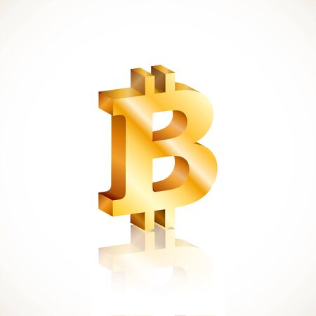 Golden bitcoin symbol with reflection isolated on white background. Vector illustration for your graphic design. Иллюстрация