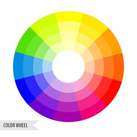 Graphique de roue de couleur vive isolé sur fond blanc. Illustration vectorielle pour votre conception graphique.
