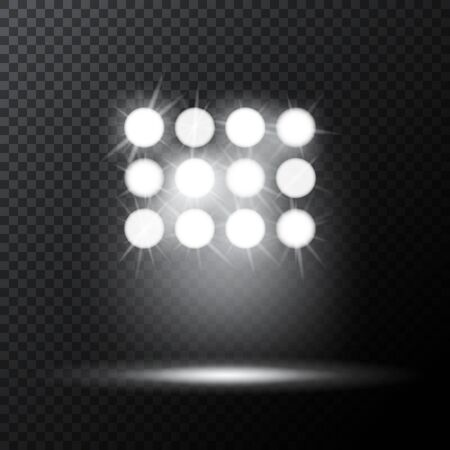 Glowing spotlights. Set of illumination stage lights. Rows of lamps. Vector illustration for your graphic design. Иллюстрация