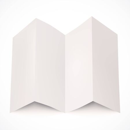 Piece of white paper with folds and shadows isolated on white background. Vector illustration for your graphic design.
