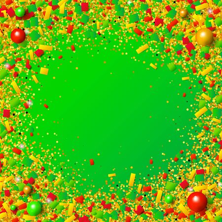 Colorful glitter, confetti and beads explosion frame with traditional Christmas colors. Red, green and golden particles on green background. Vector illustration for your graphic design.