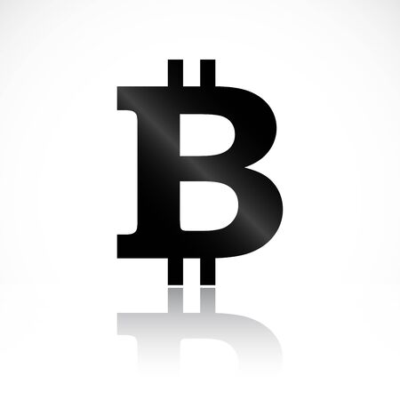 Black bitcoin symbol with reflection isolated on white background. Vector illustration for your graphic design.