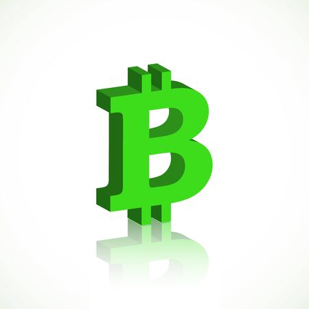 Bright green dimensional bitcoin symbol with reflection isolated on white background. Vector illustration for your graphic design. Иллюстрация