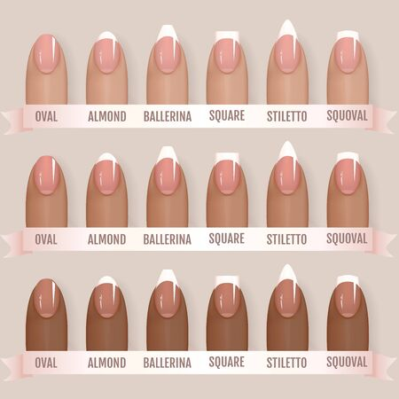 Set of simple realistic manicured pink nails with different shapes. Vector illustration for your graphic design. 矢量图像