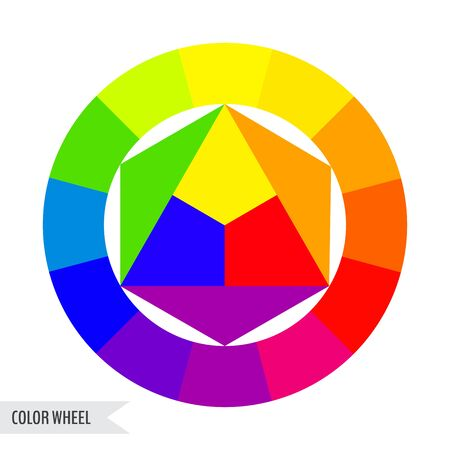 Bright color wheel chart isolated on white background. Vector illustration for your graphic design.