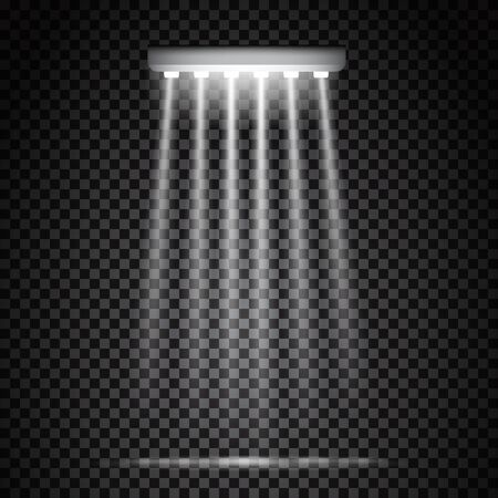 Glowing white spotlights. Half transparent illumination stage lights. Shining lamps. Vector illustration for your graphic design.