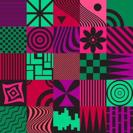 Colorful  retro 80s pattern with various elements. Stock fotó - 149567676