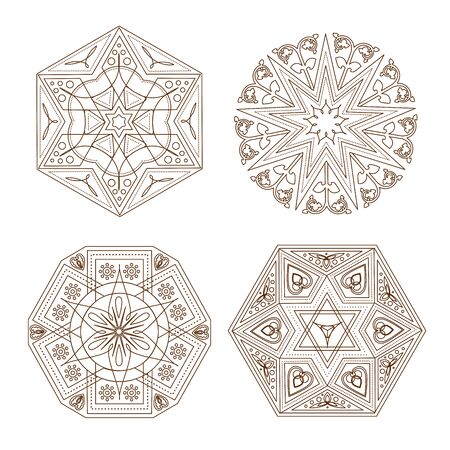 Set of various Indian mandala outlines isolated on white background. Ethnic tile elements with traditional east patterns. Vector illustration for your graphic design. Vectores