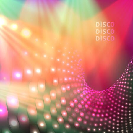 Colorful and bright blue disco party background with shining lights. Vector illustration for your graphic design. Vektorgrafik