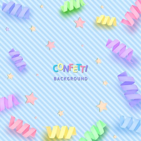 Soft and tender blue background with stars and cute colorful confetti. Blue pastel backdrop. Vector illustration for your graphic design. Stock Vector - 150279319