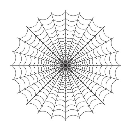 Halloween spider web isolated on white background. Simple circular cobweb. Vector illustration for your graphic design.