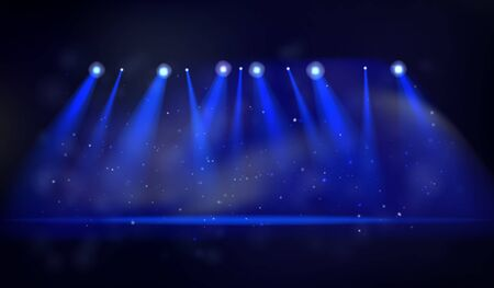 Vector stage with a set of blue spotlights. Magical blue projector lights. Vector illustration for your graphic design.