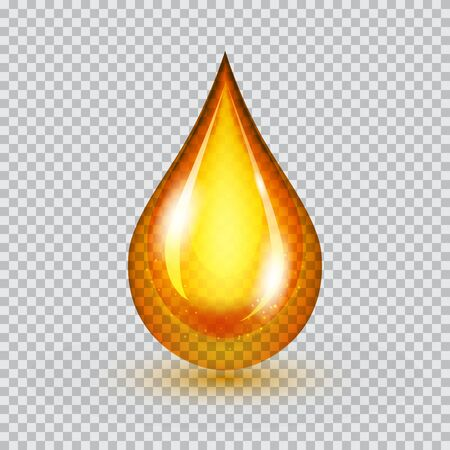 Vector drop of golden oil with shadow isolated on half-transparent background. The shiny drop of yellow natural oil. Vector illustration for your graphic design.