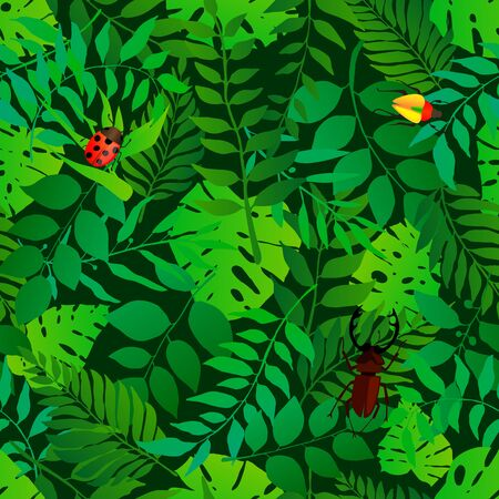 Green natural seamless pattern with natural leaves and bugs. Bright fresh green botanic repetitive pattern. Vector illustration for your graphic design.