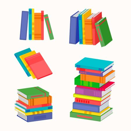 Set of various piles of colorful books. The big stack of colorful books. Vector illustration for your graphic design.