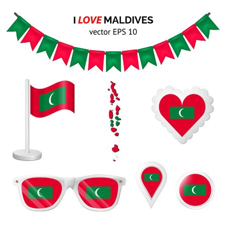 Maldives symbols attribute. Heart, flags, glasses, buttons, and garlands with civil and state Maldives colors. Vector illustration for your graphic design. Stock Illustratie