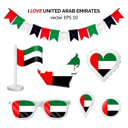 United Arab Emirates symbols attribute. Heart, flags, glasses, buttons, and garlands with civil and state United Arab Emirates colors. Vector illustration for your graphic design.