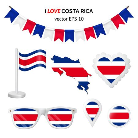 Costa Rica symbols attribute. Heart, flags, glasses, buttons, and garlands with civil and state Costa Rica colors. Vector illustration for your graphic design. Ilustração