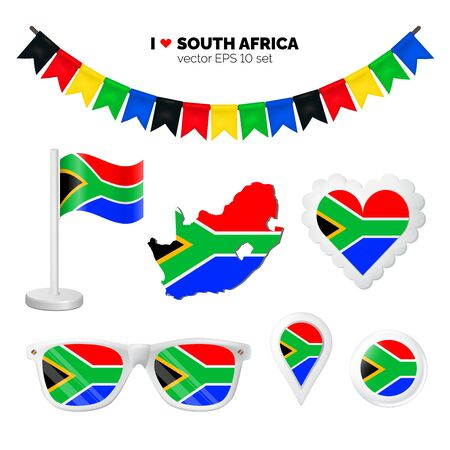 South Africa symbols attribute. Heart, flags, glasses, buttons, and garlands with civil and state South Africa colors. Vector illustration for your graphic design.