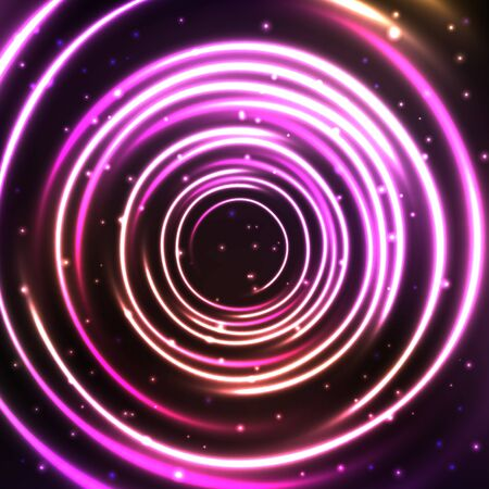 Abstract cosmic background with glowing light circles. Shiny and starry circular cosmic frame in blue and violet colors. Vector illustration for your graphic design. Ilustração