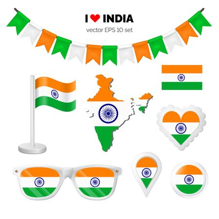 India symbols attribute. Heart, flags, glasses, buttons, and garlands with civil and state Indian colors. Vector illustration for your graphic design. Ilustração