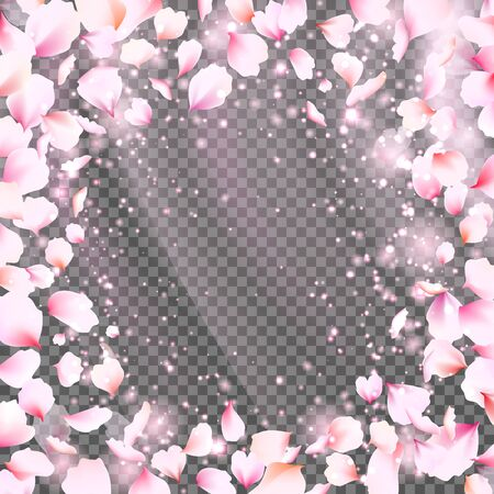 Rose petals frame with falling tender pink petals. Cute falling flower petals. Vector illustration for your graphic design.