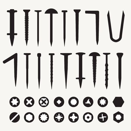 Set of various nails and screws isolated on white background. Vector illustration for your graphic design. Ilustração