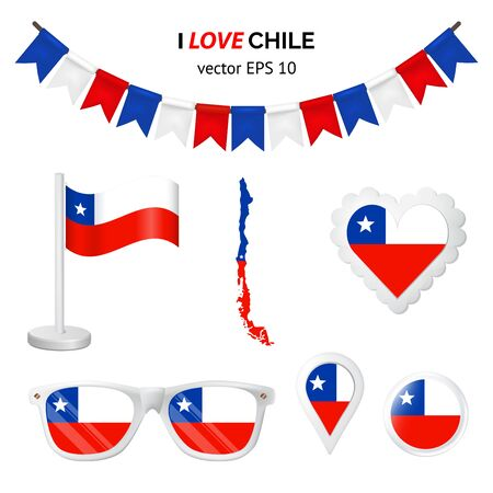 Chile symbols attribute. Heart, flags, glasses, buttons, and garlands with civil and state Chile colors. Vector illustration for your graphic design. Ilustração