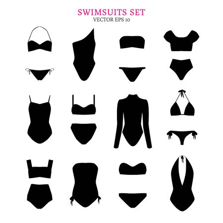 Black silhouettes of various swim suits. Set of swimsuits isolated on white background. Vector illustration for your graphic design. Ilustração
