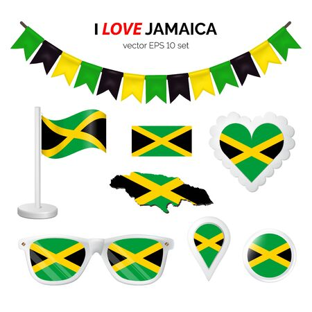 Jamaica symbols attribute. Heart, flags, glasses, buttons, and garlands with civil and state Jamaica colors. Vector illustration for your graphic design. Ilustração