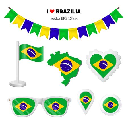 Brazil symbols attribute. Heart, flags, glasses, buttons, and garlands with civil and state Brazil colors. Vector illustration for your graphic design.