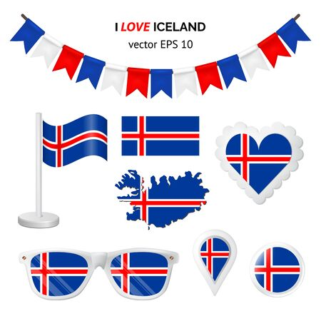 Iceland symbols attribute. Heart, flags, glasses, buttons, and garlands with civil and state Iceland colors. Vector illustration for your graphic design. Ilustração