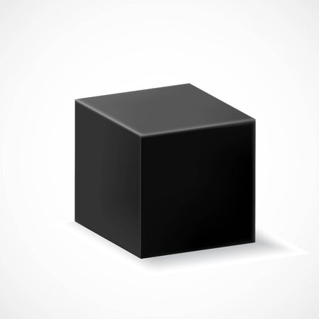 A black cube with shadow isolated on white background. Three-dimensional black geometric shape. Vector illustration for your graphic design.