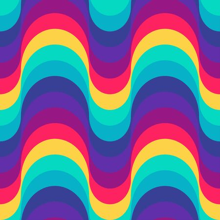 Seamless creative colorful 70s pattern design. Wavy repetitive rainbow pattern with retro waves. Vector illustration for your graphic design. Ilustração