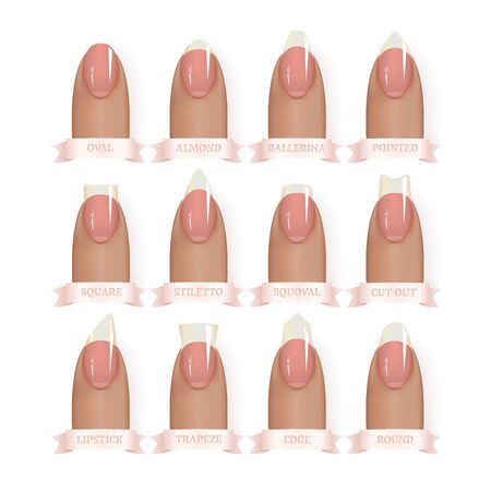 Set of simple realistic manicured natural pink nails with various shapes. Nails with different shapes. Vector illustration for your graphic design.
