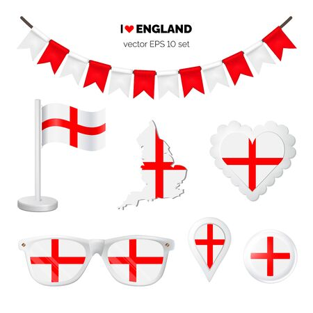 England symbols attribute. Heart, flags, glasses, buttons, and garlands with civil and state England colors. Vector illustration for your graphic design.