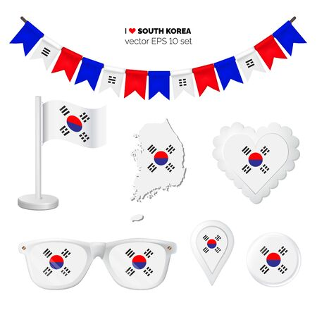 South Korea symbols attribute. Heart, flags, glasses, buttons, and garlands with civil and state South Korea colors. Vector illustration for your graphic design. Ilustração