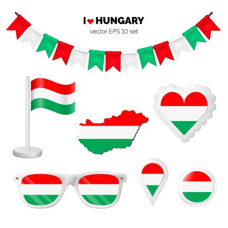 Hungary symbols attribute. Heart, flags, glasses, buttons, and garlands with civil and state Hungary colors. Vector illustration for your graphic design.